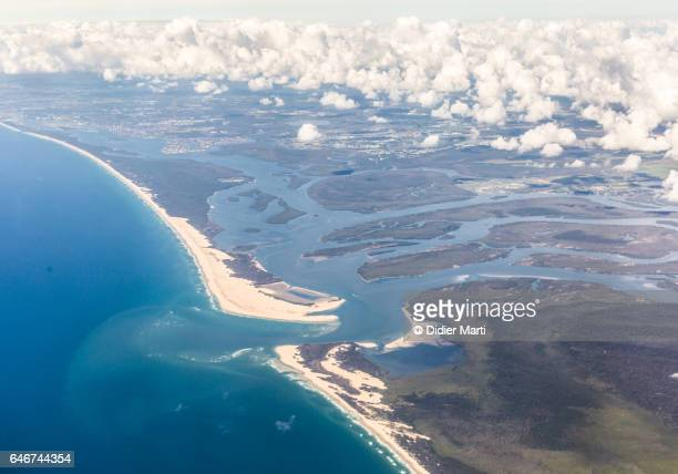 aerial view of the coast between gold coast and brisbane in australia - estuary stock pictures, royalty-free photos & images
