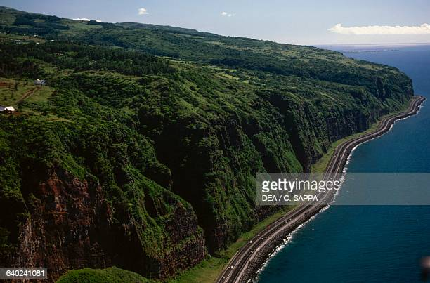 Aerial view of the coast near Saint-Denis, Reunion Island, Overseas Department of the French Republic.