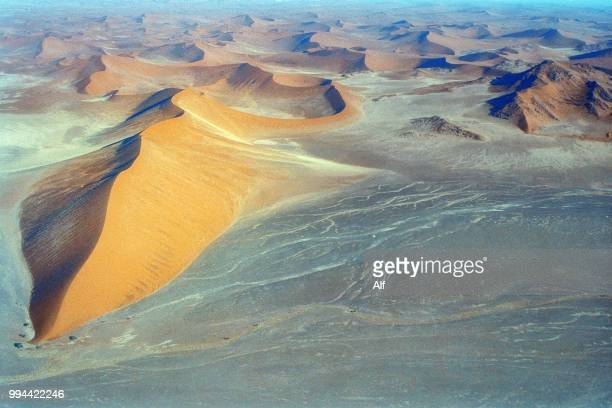 Aerial view of the coast of the skeletons in Namibia