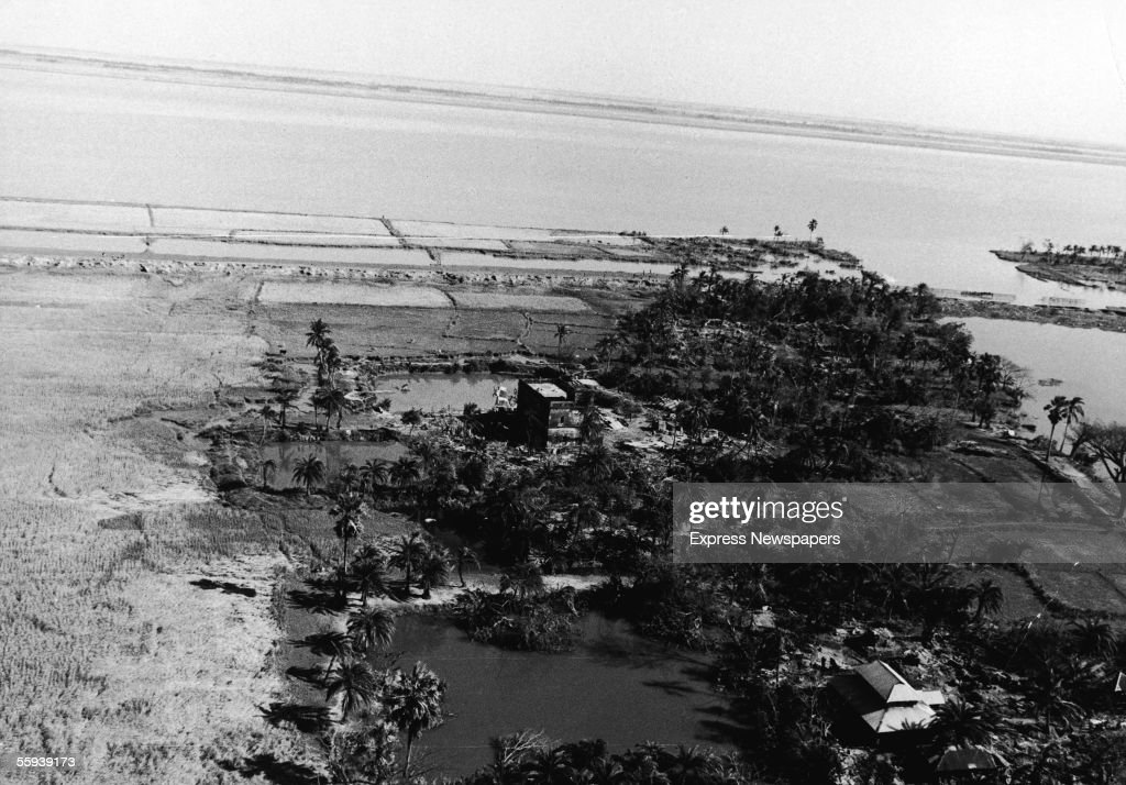 Aerial view of the coastal area of Patuakhali littered with dead cattle after it was hit by the tropical cyclone and tidal wave on November 13, 1970, which killed an estimated 200,000 to half a million people, with at least 100,000 missing, in East Pakistan (now Bangladesh), Patuakhali, East Pakistan, November 18, 1970.