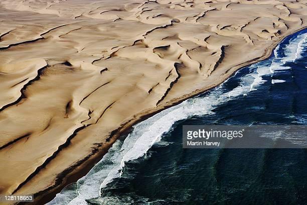 Aerial view of the coastal dunes of the Namib desert. Namibia.