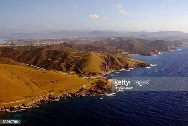 Aerial view of the coastline surrounding US Naval Base Guantanamo Bay in Cuba