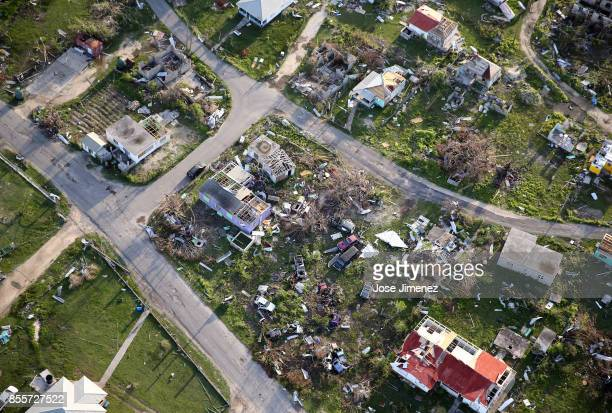 Aerial view of the Codrington lagoon September 22 2017 in Codrington Antigua and Barbuda Hurricane Irma inflicted catastrophic damages to the island...