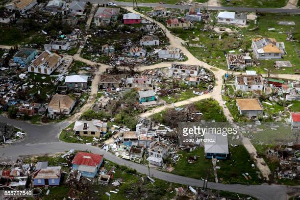 Aerial view of the Codrington lagoon September 22, 2017 in Codrington, Antigua and Barbuda. Hurricane Irma inflicted catastrophic damages to the...