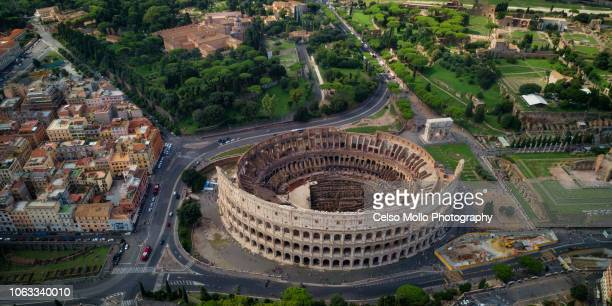 aerial view of the colosseum - colosseum stock pictures, royalty-free photos & images