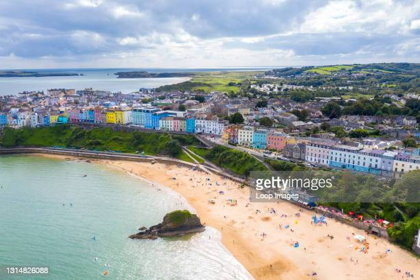 Aerial view of the colourful town of Tenby.