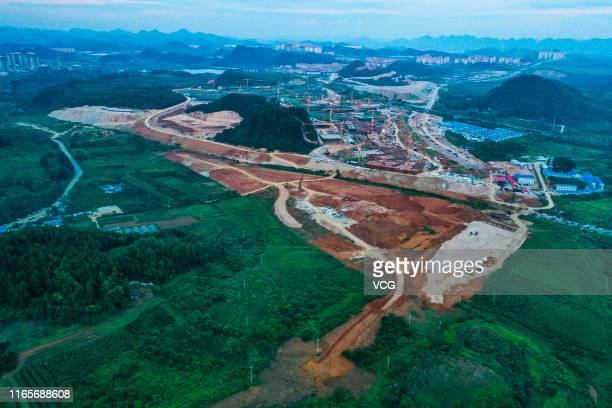 Aerial view of the construction site of Huawei data center at Gui'an New Area on August 2, 2019 in Guiyang, Guizhou Province of China. Huawei is...