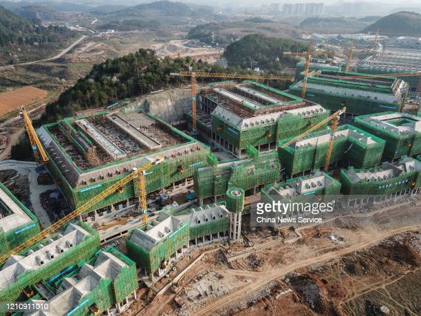 Aerial view of the construction site of Huawei data center at Guian New Area on March 6 2020 in Guiyang Guizhou Province of China