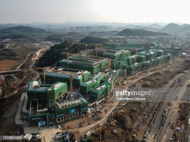 Aerial view of the construction site of Huawei data center at Guian New Area on March 6, 2020 in Guiyang, Guizhou Province of China.