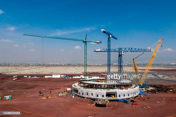 Aerial view of the construction works of Mexico City's new airport in Texcoco Mexico State on July 31 2018