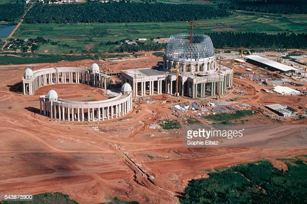 Aerial view of the constuction site housing the African Basilica Notre Dame de la Paix in Yamoussoukro