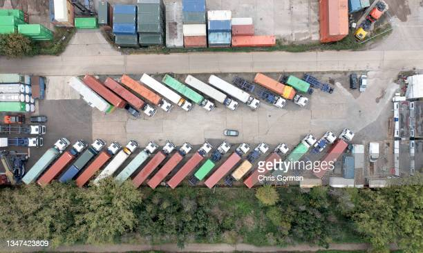 Aerial view of the container port of Felixstowe on October 17,2021 in Felixstowe ,United Kingdom.