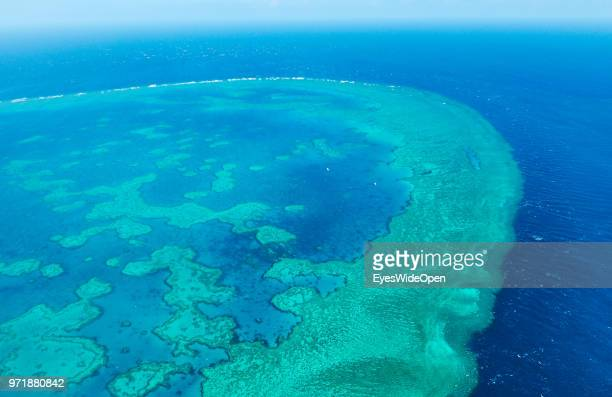 Aerial view of the coral banks reef systems and structures in the pacific ocean on November 20 2015 in Great Barrier Reef Australia