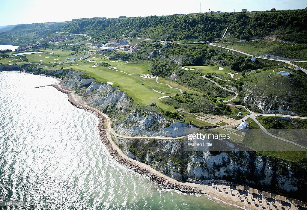 Aerial view of the course ahead of the Volvo World Match Play Championship at Thracian Cliffs Golf & Beach Resort on May 15, 2013 in Kavarna, Bulgaria.