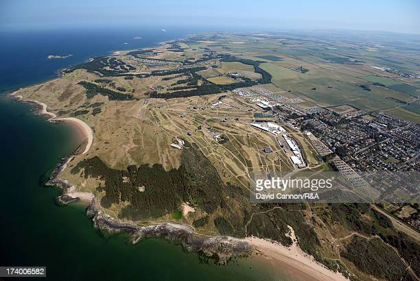 Aerial View of the course and surrounding area during the second round of the 142nd Open Championship at Muirfield on July 19 2013 in Gullane Scotland