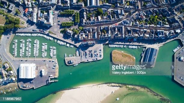 aerial view of the croisic city center and port - loire atlantique stock pictures, royalty-free photos & images