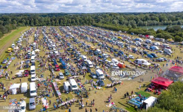 Aerial view of the crowd at Denham Car Boot sale in Buckinghamshire during lockdown on July 11, 2020 in Denham, Buckinghamshire, United Kingdom.
