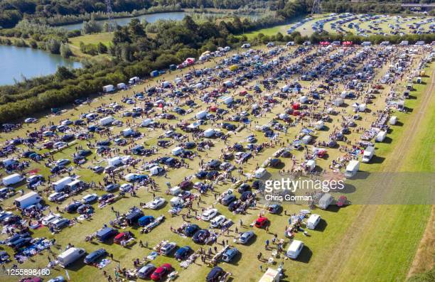 Aerial view of the crowd at Denham Car Boot sale in Buckinghamshire during lockdown on July 11, 2020 in Denham, Buckinghamshire, United Kingdom.