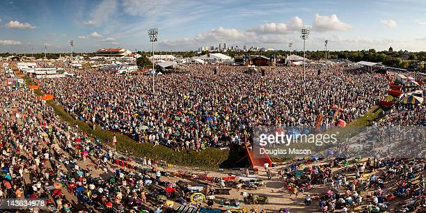 Aerial view of the crowd during the 2012 New Orleans Jazz Heritage Festival at the Fair Grounds Race Course on April 29 2012 in New Orleans Louisiana