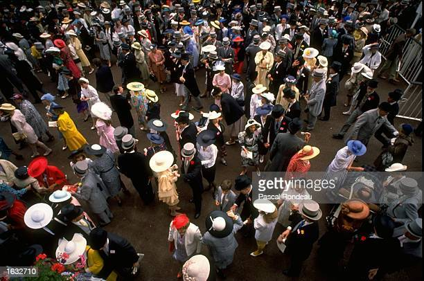 Aerial view of the crowd during the Royal Ascot races at Ascot , Windsor, England. \ Mandatory Credit: Pascal Rondeau/Allsport