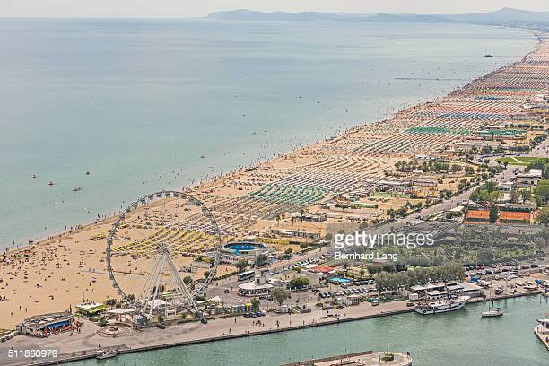 Aerial View of the crowded beach of Rimini