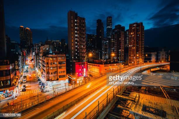 vista aérea da cidade lotada de kowloon em yau ma tei, hong kong - extremo oriente - fotografias e filmes do acervo