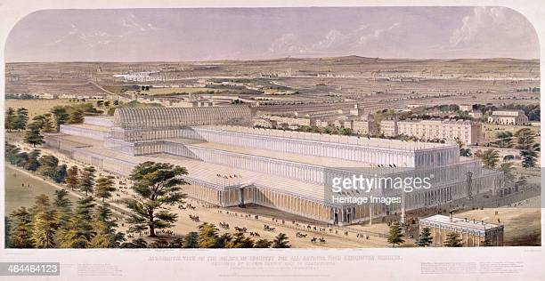 Aerial view of the Crystal Palace in Hyde Park which housed the Great Exhibition in 1851