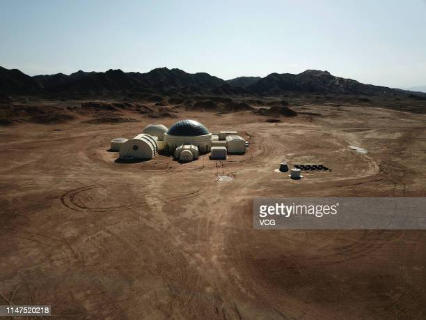 Aerial view of the C-Space Project, a Mars simulation base in the Gobi Desert on May 3, 2019 in Jinchang, Gansu Province of China. The C-Space...