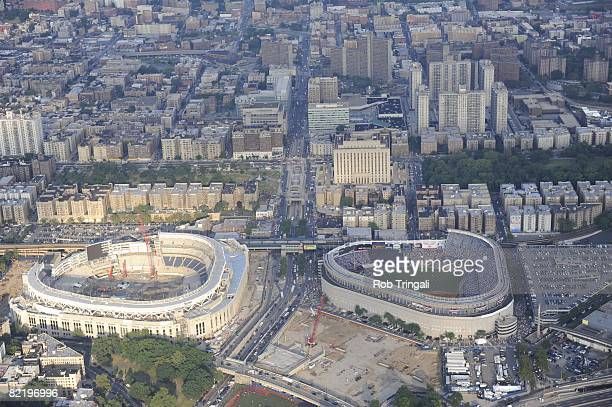Aerial view of the current Yankee Stadium and the future Yankee Stadium currently being built during the 79th MLB AllStar Game in the Bronx New York...