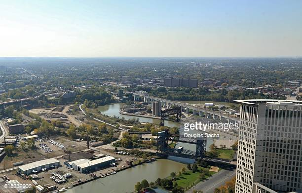 aerial view of the cuyahoga river,  cleveland, ohio, usa - rock and roll hall of fame cleveland stock pictures, royalty-free photos & images