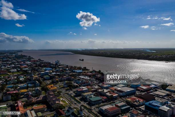 Aerial view of the Demerara river in Georgetown Guyana on March 1 2020
