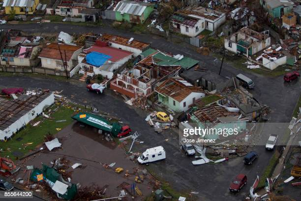 Aerial view of the devastation in the island of Dominica on September 28 2017 Hurricane Maria inflicted catastrophic damages and at least 15 deaths...