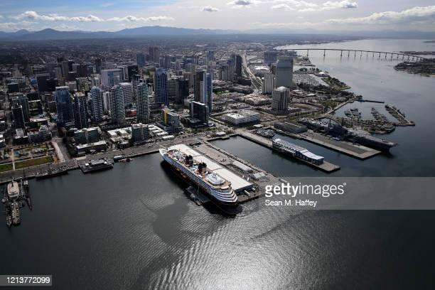 Aerial view of the Disney Wonder cruise ship docked at B Street Pier on March 20 2020 in San Diego California In order to minimize passenger and...