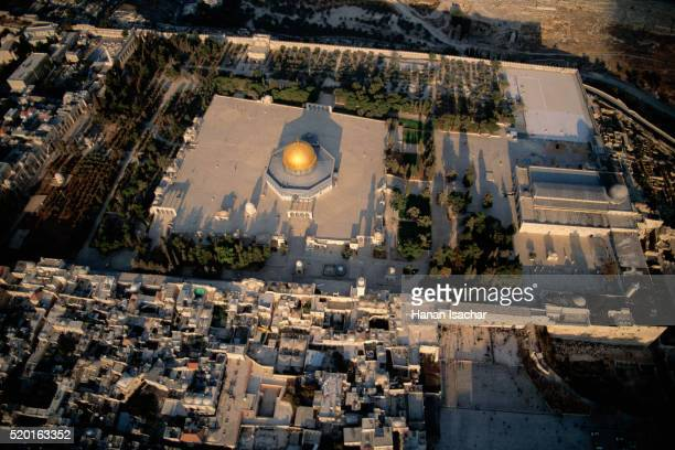 Aerial View of the Dome of the Rock, Al Aqsa and the Western Wall