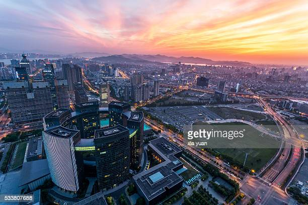 Aerial View of the Downtown Hangzhou Skyline at Dusk