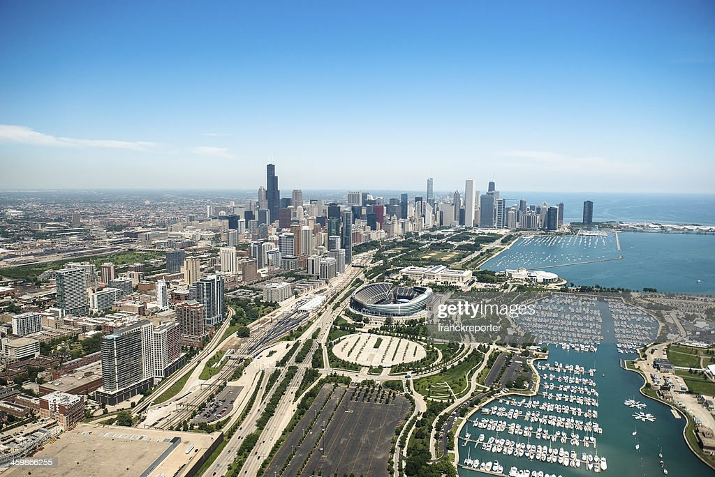 Aerial view of the downtown in Chicago : Stock Photo