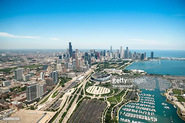 Aerial view of the downtown in Chicago