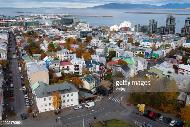aerial view of the downtown iv, reykjavik, iceland - vsojoy stock pictures, royalty-free photos & images