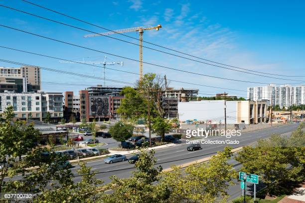 Aerial view of the downtown portion of Rockville Maryland with construction cranes visible September 25 2016 Situated close to Washington DC...
