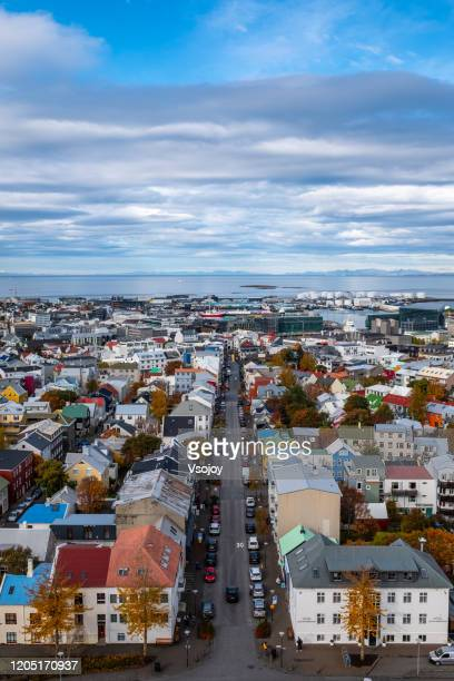 aerial view of the downtown vi, reykjavik, iceland - vsojoy stock pictures, royalty-free photos & images