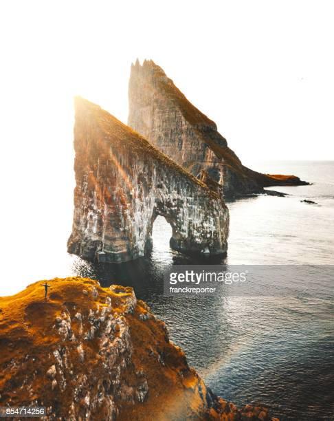aerial view of the dranganir rock at the faroe islands