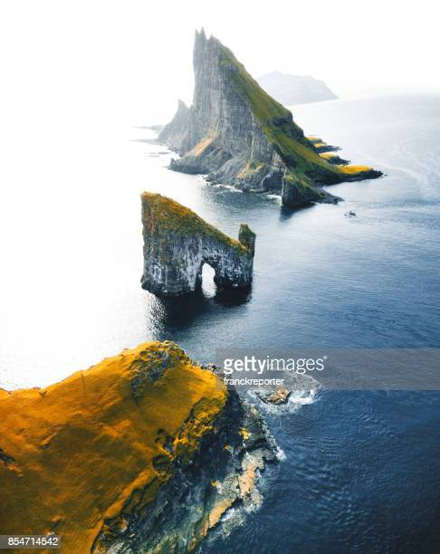 aerial view of the dranganir rock at the faroe islands