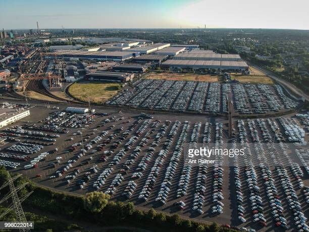 Aerial view of the Duisport Car Storage Facility at sunset on July 8 2018 in Duisburg Germany