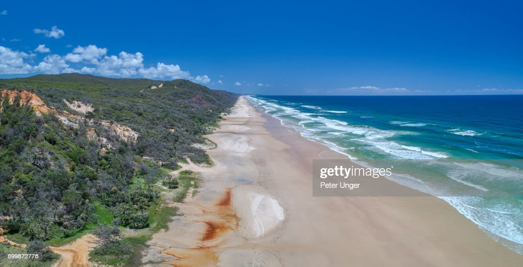 Aerial view of the east coast of Fraser Island,Queensland,Australia : Stock Photo