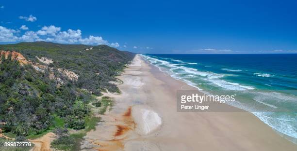 Aerial view of the east coast of Fraser Island,Queensland,Australia