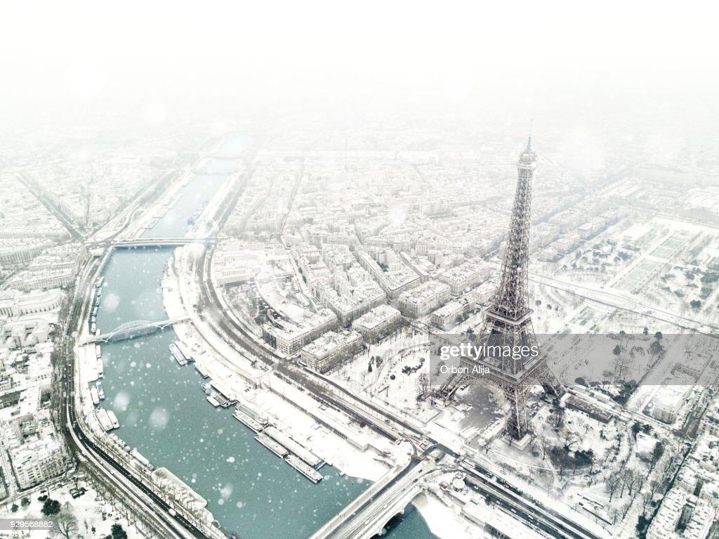 Luchtfoto van de Eiffeltoren : Stockfoto