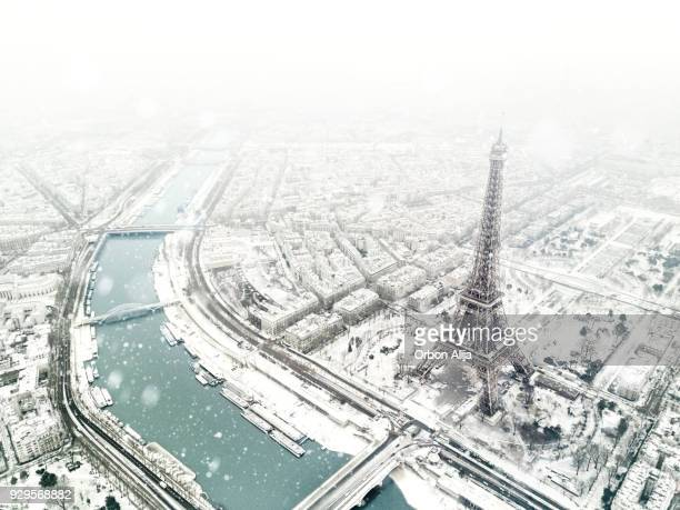 aerial view of the eiffel tower - parigi foto e immagini stock