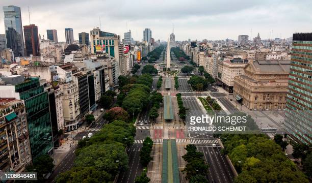 Aerial view of the empty 9 de Julio Avenue in Buenos Aires on March 30 2020 Compulsory social isolation was extended until April 12 in Argentina the...