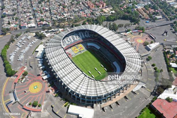 Aerial view of the empty Azteca stadium in Mexico City on March 22 as the Mexican football torunamnet was postponed prevent the spread of the new...