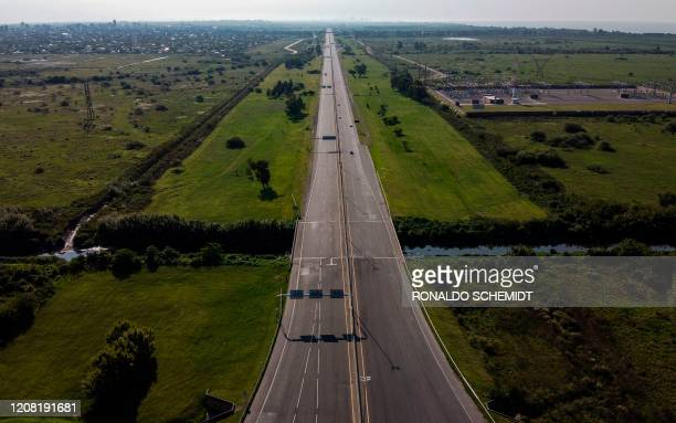 Aerial view of the empty Buenos Aires - La Plata highway, on March 24, 2020 during the outbreak of the new Coronavirus, COVID-19. - Argentina's...